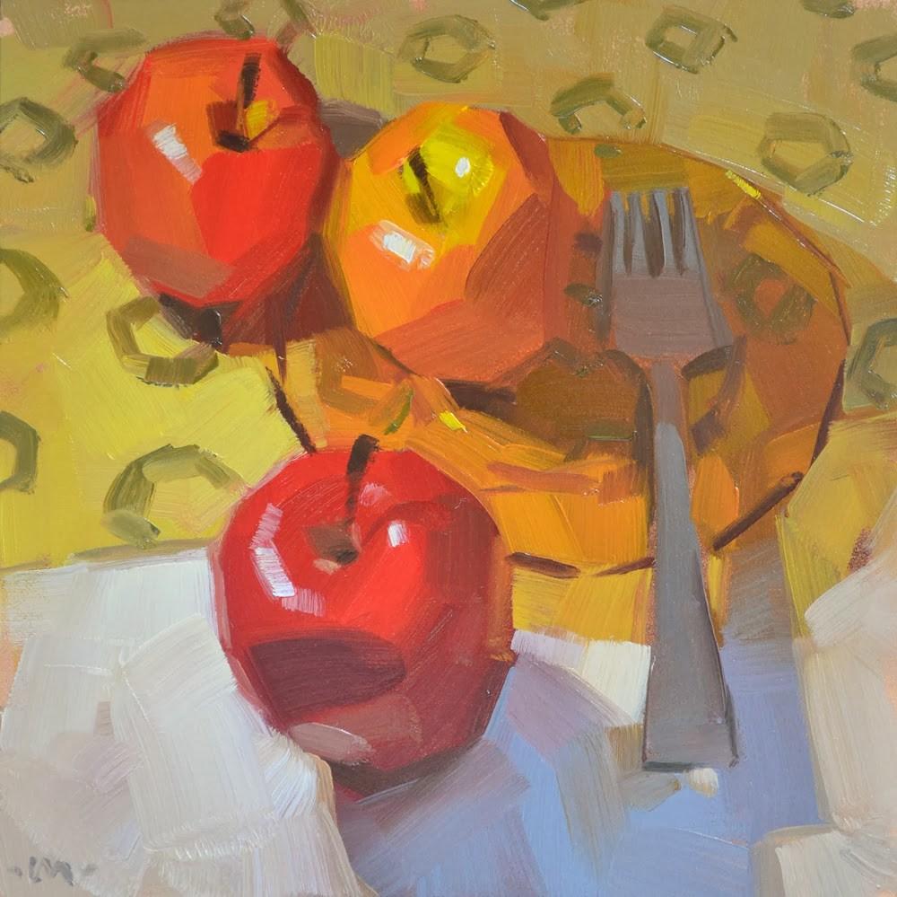 """Three Different Apples"" original fine art by Carol Marine"