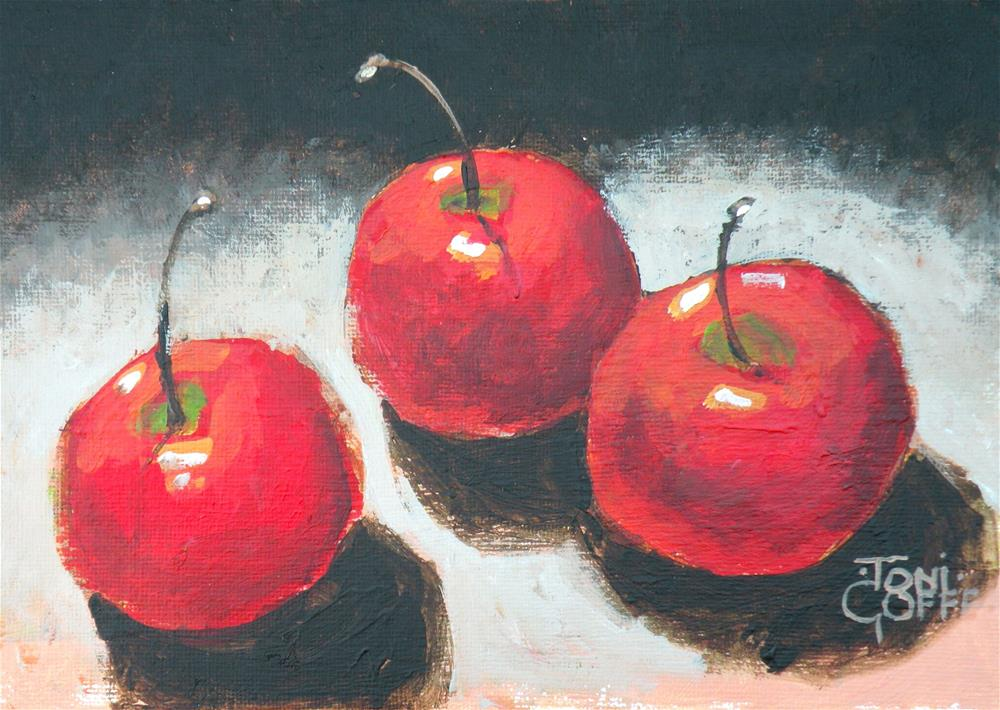 """Three Little Apples"" original fine art by Toni Goffe"