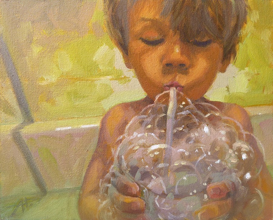 """Day 25 - DIY BubbleBath"" original fine art by Anette Power"