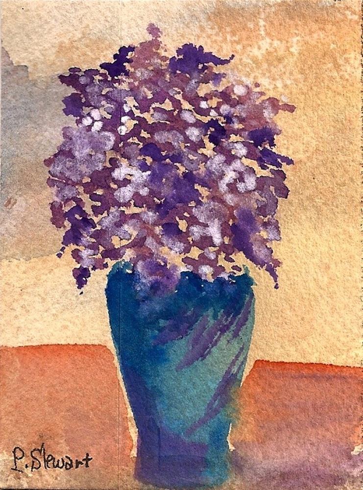 """ACEO Lilacs in a Vase, Flowers"" original fine art by Penny Lee StewArt"