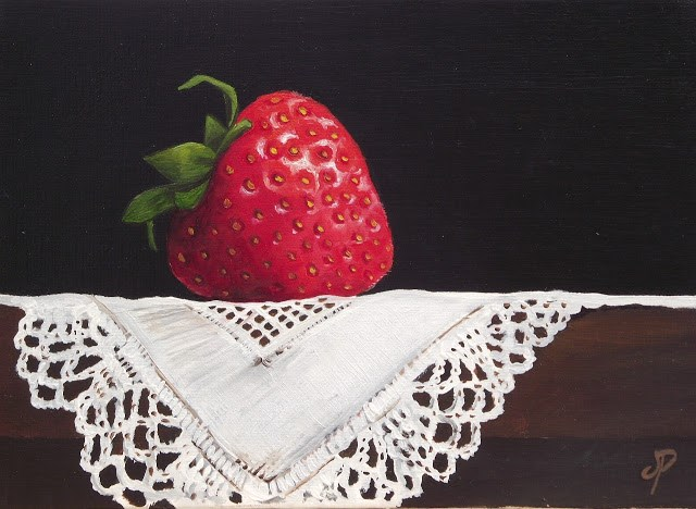 """Strawberry on cloth"" original fine art by Jane Palmer"
