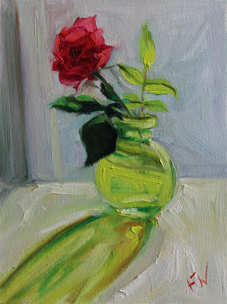 """Red Rose on the Windowsill"" original fine art by H.F. Wallen"
