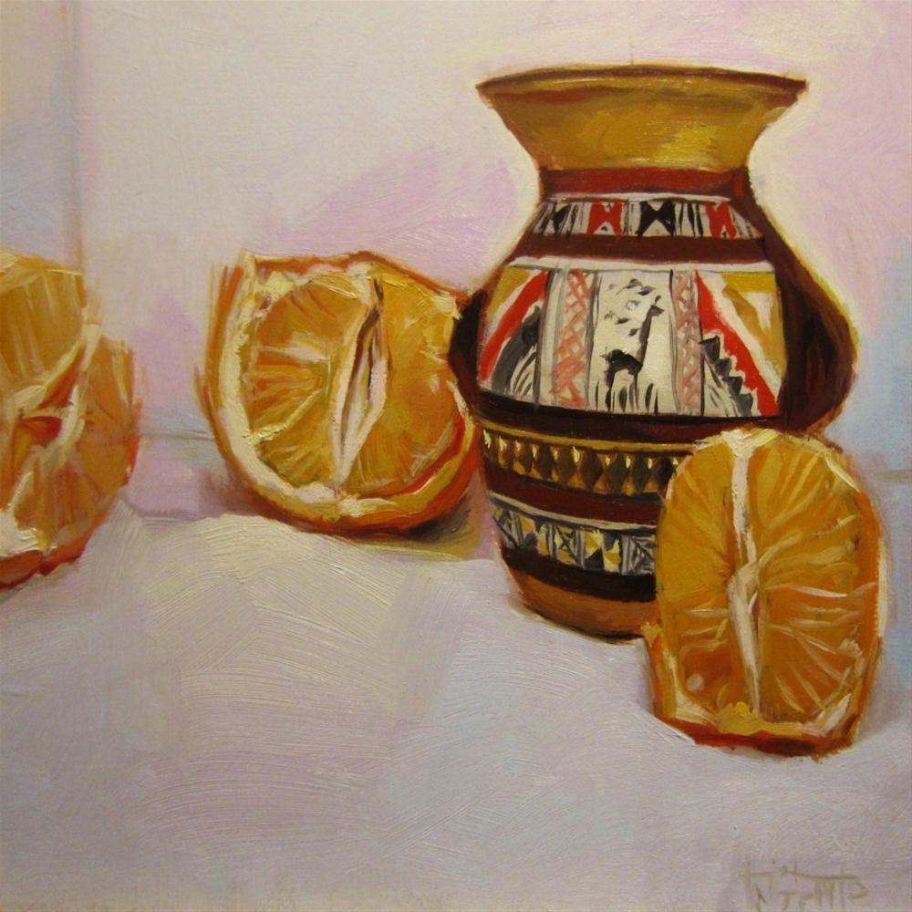 """Mandarins and amphora"" original fine art by Víctor Tristante"