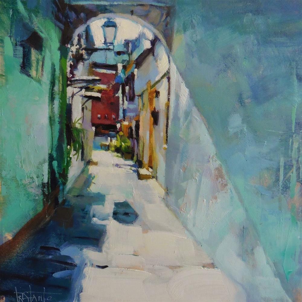 """""""Lighted alley"""" original fine art by Víctor Tristante"""