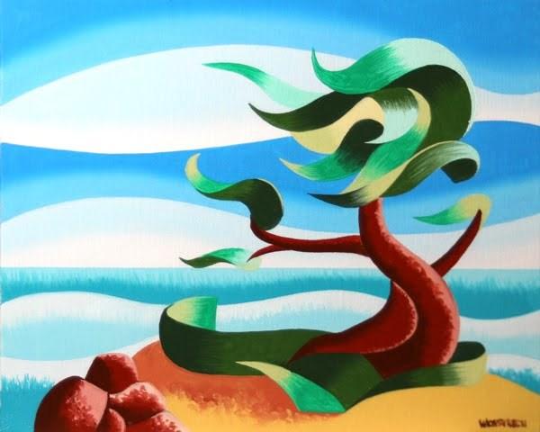 """Mark Webster - Abstract Geometric Landscape Oil Painting - Cypress Tree Seascape #3"" original fine art by Mark Webster"