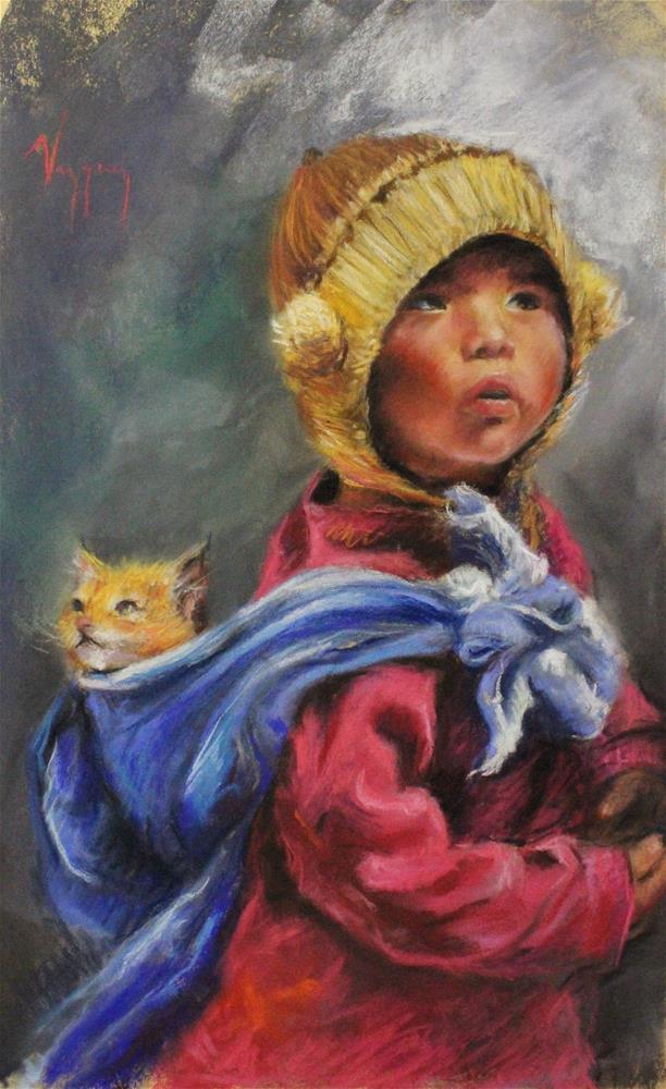 """Child and cat"" original fine art by Marco Vazquez"