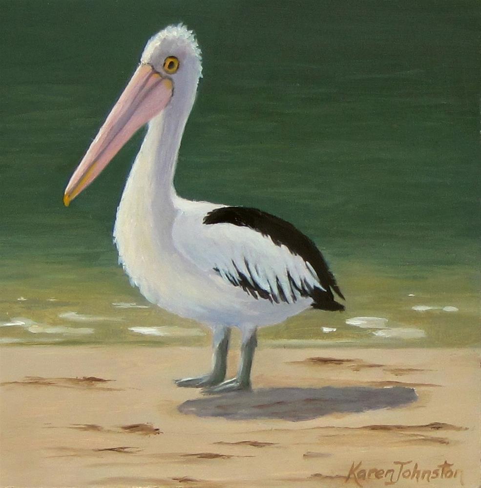 """Mr Pelican"" original fine art by Karen Johnston"
