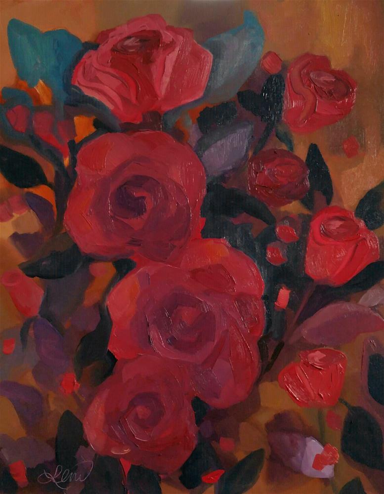 """""""Golden floral"""" original fine art by Leni Tarleton"""