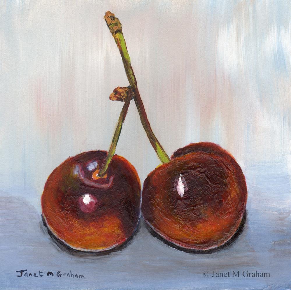 """Two Cherries"" original fine art by Janet Graham"