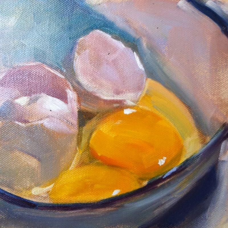 """Breakfast, oil on canvas, 6x6"" original fine art by Darlene Young"