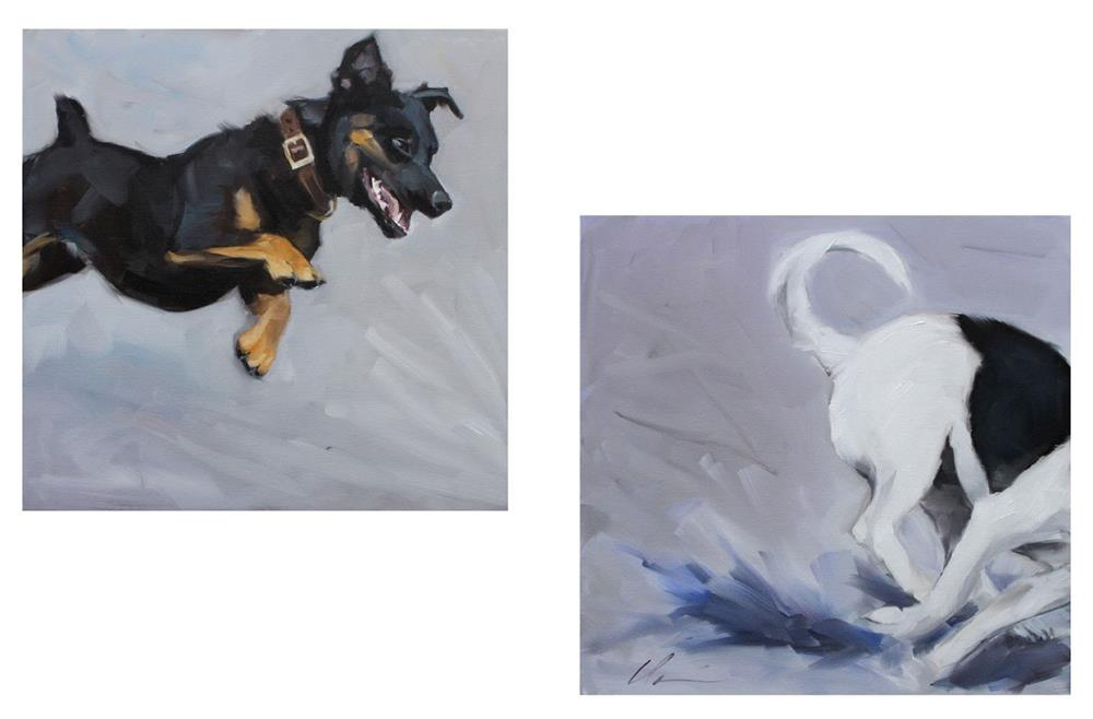 """Dog Park Day"" original fine art by Clair Hartmann"