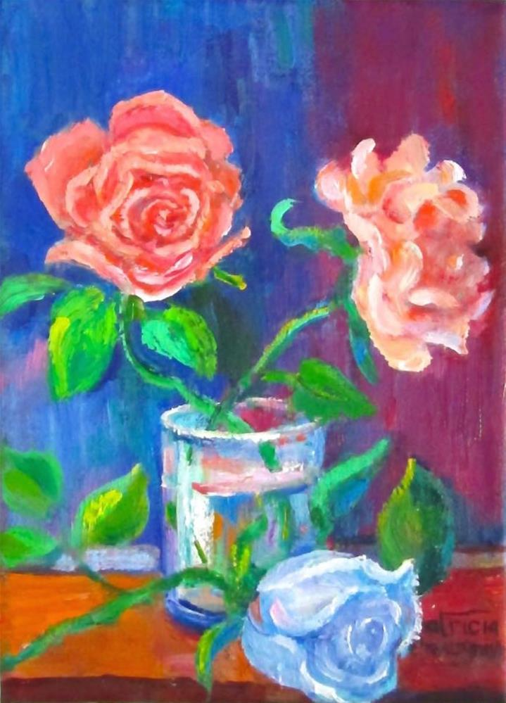 """Three Roses"" original fine art by Patricia Musgrave"