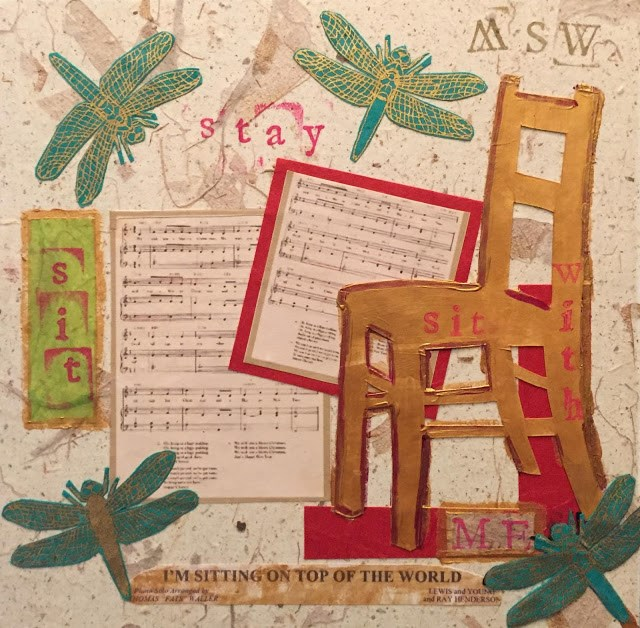 """""""Sitting on Top of the World 8x8 paper, paint and ink stamp collage"""" original fine art by Mary Sheehan Winn"""
