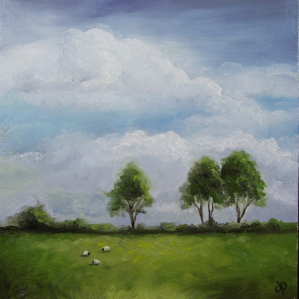 """Three trees in Wales"" original fine art by Jane Palmer"