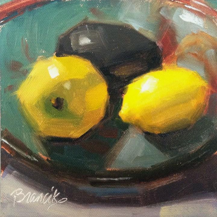 """""""Fruit in a Ceramic Bowl"""" original fine art by Candace Brancik"""