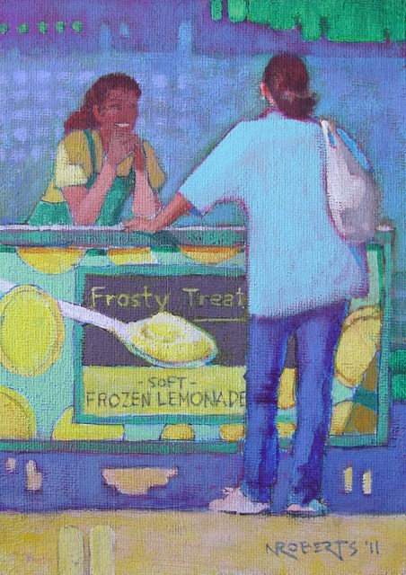 """Lemonade Stand"" original fine art by Nancy Roberts"