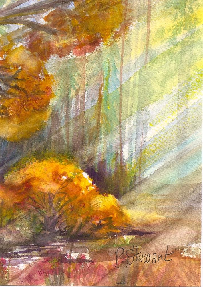 """5x7 Trees Sunlight Shadows Watercolor Painting Loose Style SFA Penny StewArt"" original fine art by Penny Lee StewArt"