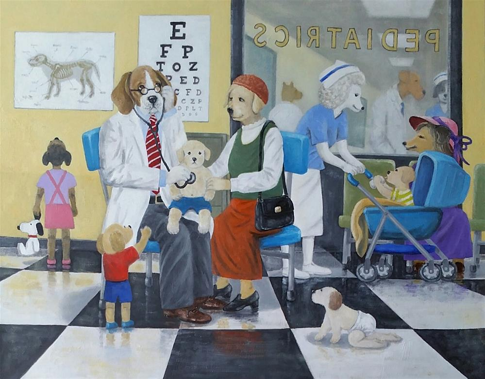 """""""Dr. Beagle Series - The Clinic"""" original fine art by Peter Lee"""