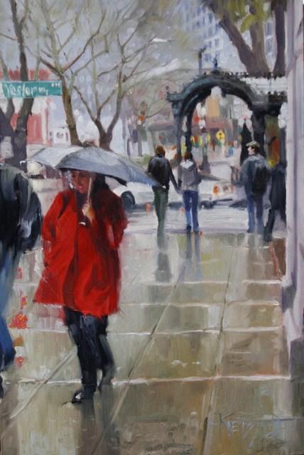 """Rain Shine Seattle cityscape, oil painting by Robin Weiss"" original fine art by Robin Weiss"