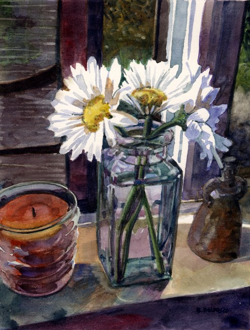 """Watercolor: Daisy Trio (& #LinkLove)"" original fine art by Belinda Del Pesco"
