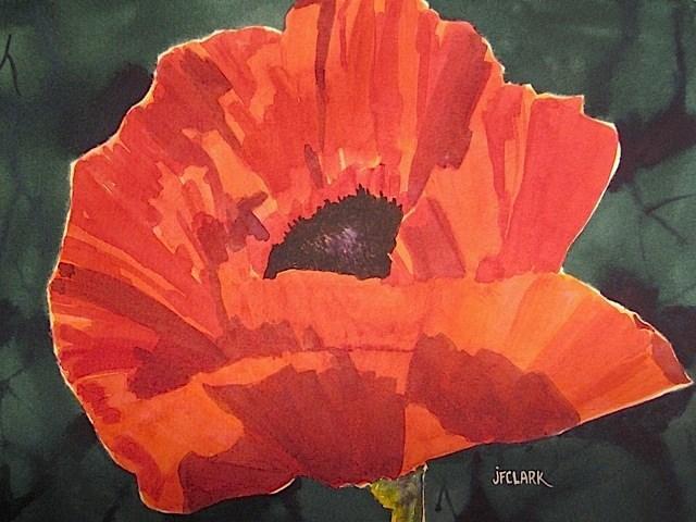 """""""Poppy, framed"""" original fine art by Judith Freeman Clark"""