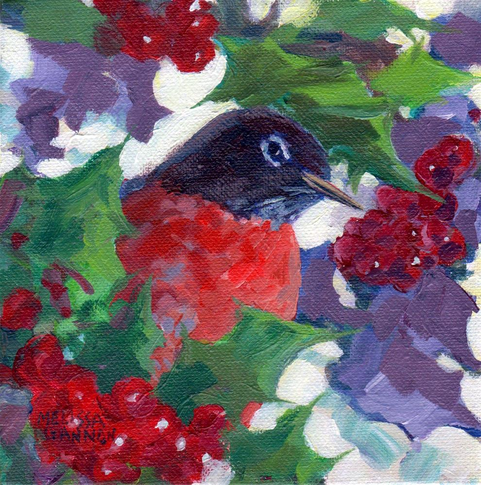 """The Holly & the Robin"" original fine art by Melissa Gannon"