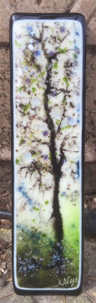 """Spring Blue Sgraffito Tree"" original fine art by Kelly Alge"