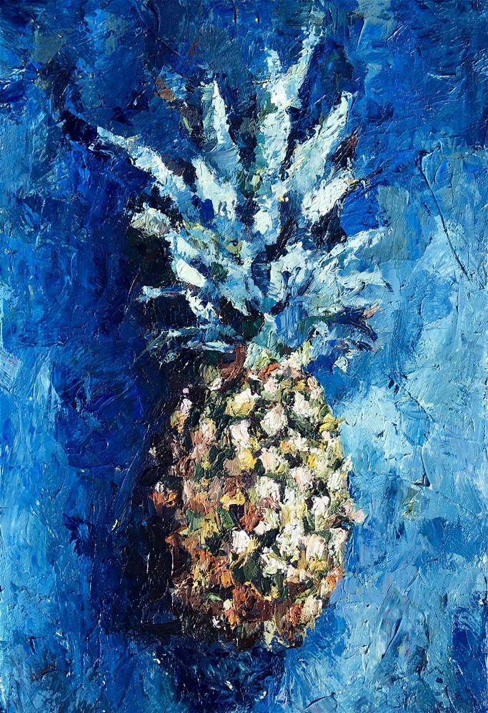 """Blue Pineapple"" original fine art by Nava Judith"