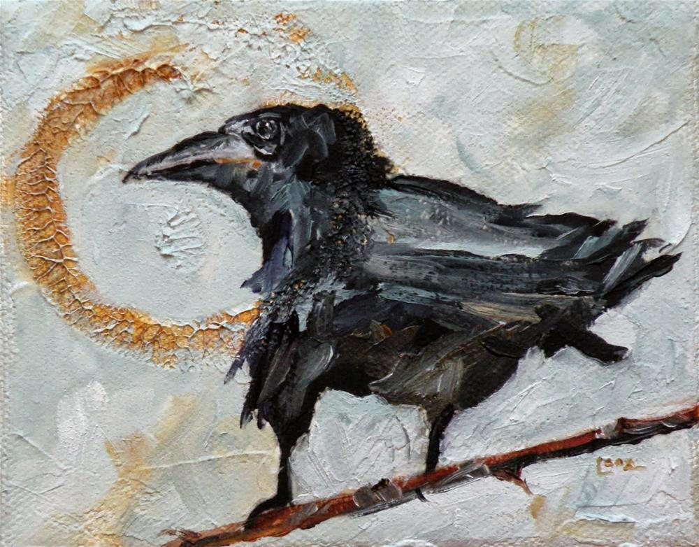 """""""FACE TO THE SUN A RAVEN ORIGINAL OIL ON TEXTURED GALLERY WRAP DEEP CANVAS © SAUNDRA LANE GALL"""" original fine art by Saundra Lane Galloway"""