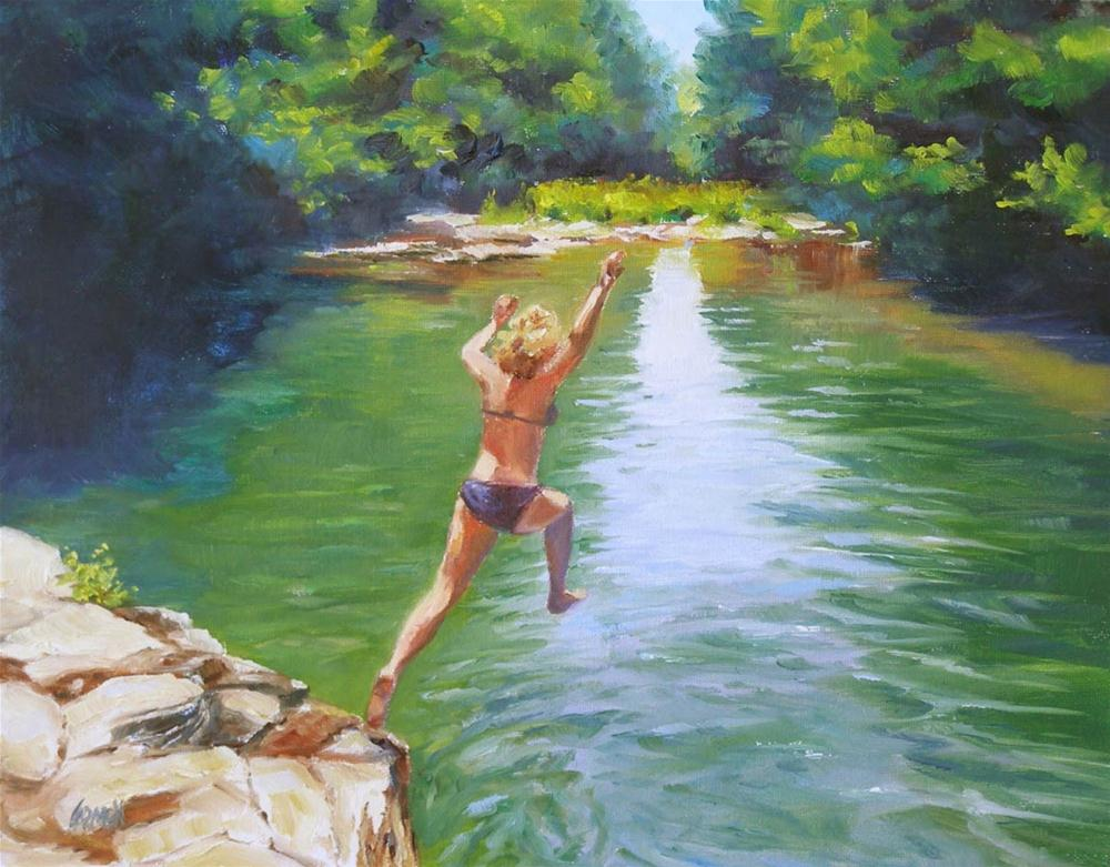 """Leap of Faith, 8x10 Oil on Canvas"" original fine art by Carmen Beecher"