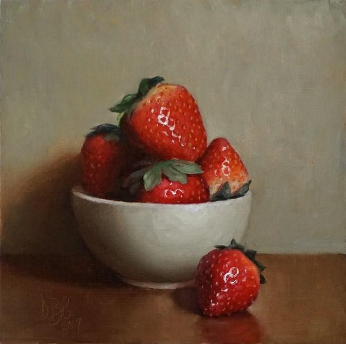 """Bowl of Strawberries"" original fine art by Debra Becks Cooper"