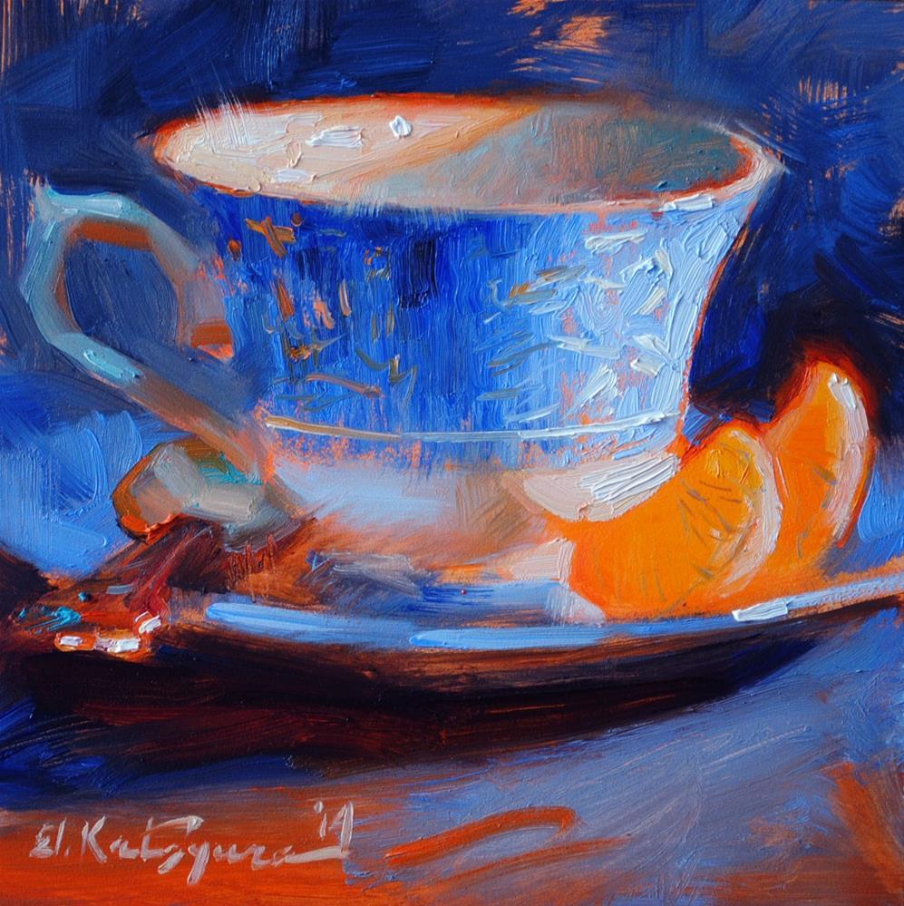 """Blue and Orange"" original fine art by Elena Katsyura"