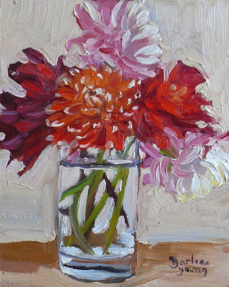 """770 Dahlias in a Glass"" original fine art by Darlene Young"