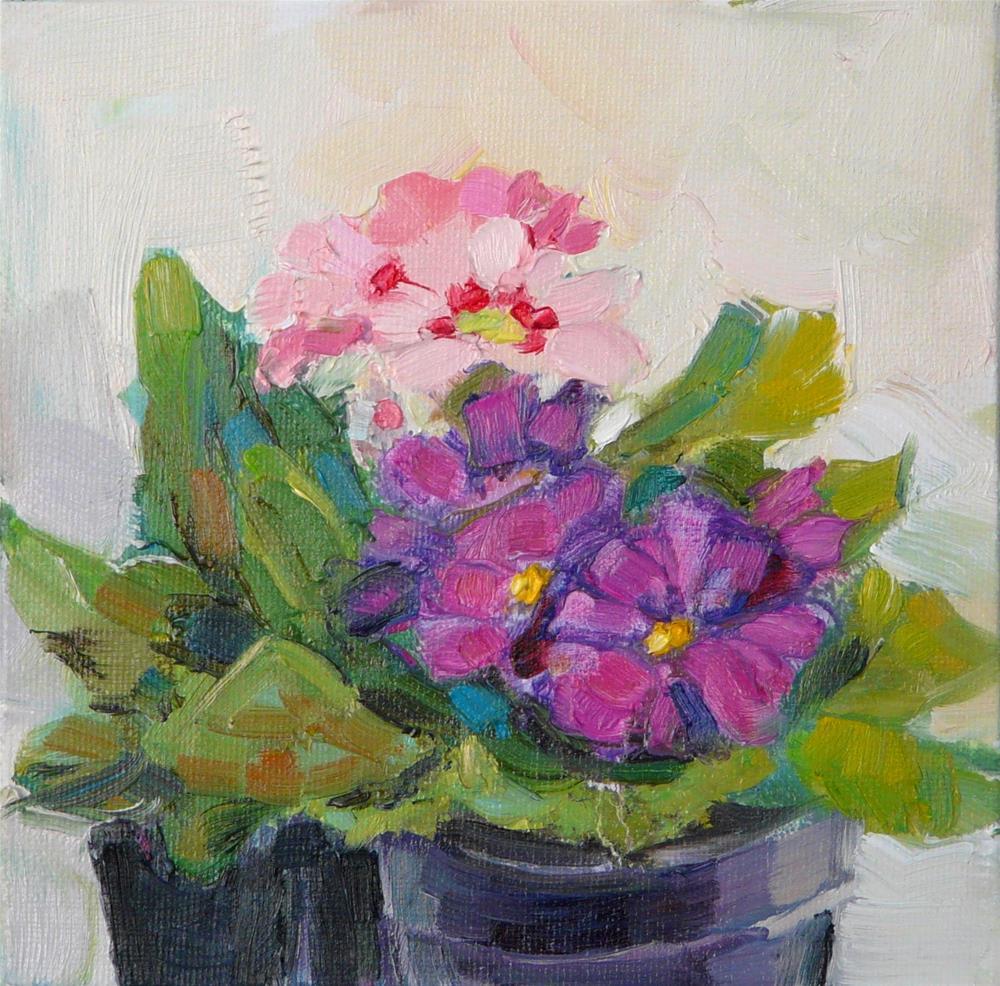 """Pink and Purple Primrose,still life,oil,6x6,price$200"" original fine art by Joy Olney"
