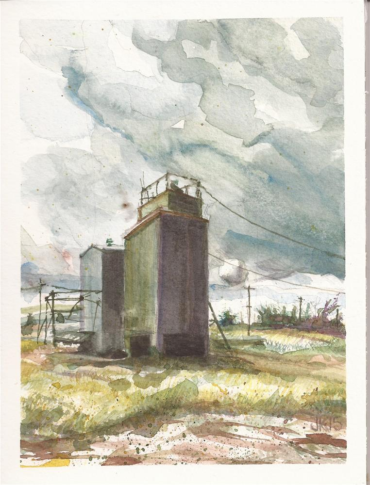"""Farm Building, Wheatland, WY"" original fine art by Jean Krueger"