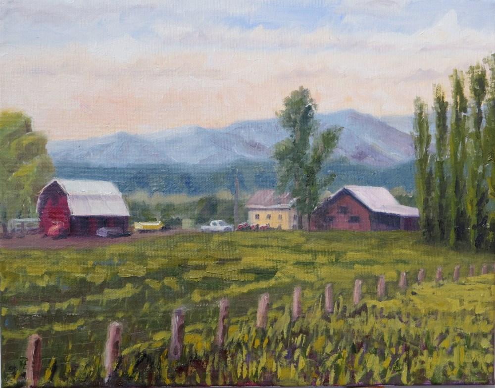 """Yellow Farmhouse and Flowers"" original fine art by Richard Kiehn"