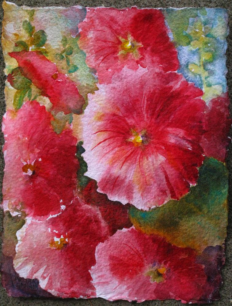 """Hollyhock Splendor"" original fine art by Melissa Gannon"