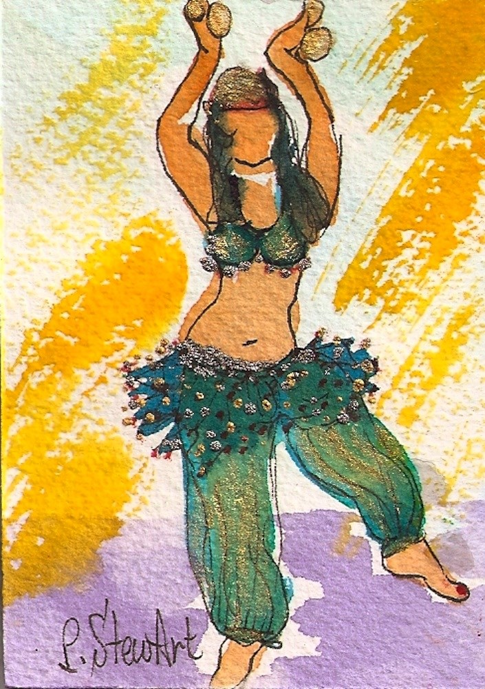 """""""ACEO Belly Dancer #8 Series - Watercolor and Pen, w/Metallic Accents, original"""" original fine art by Penny Lee StewArt"""