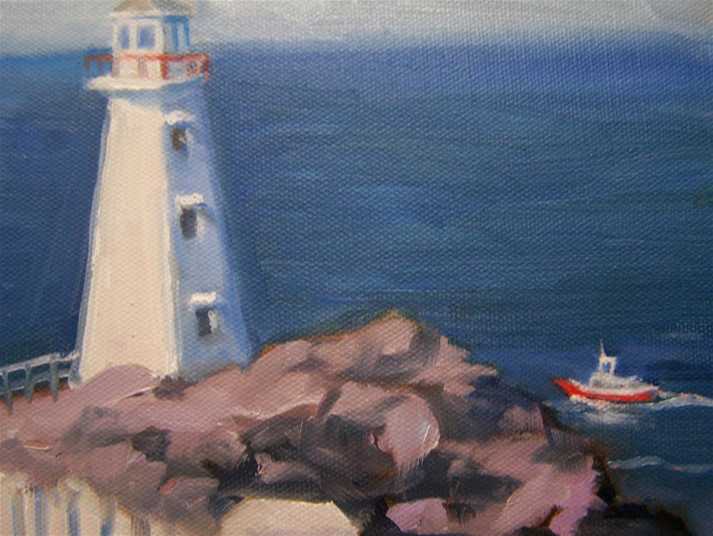 """Lighthouse at Cape Spear Nfld"" original fine art by Joan Reive"