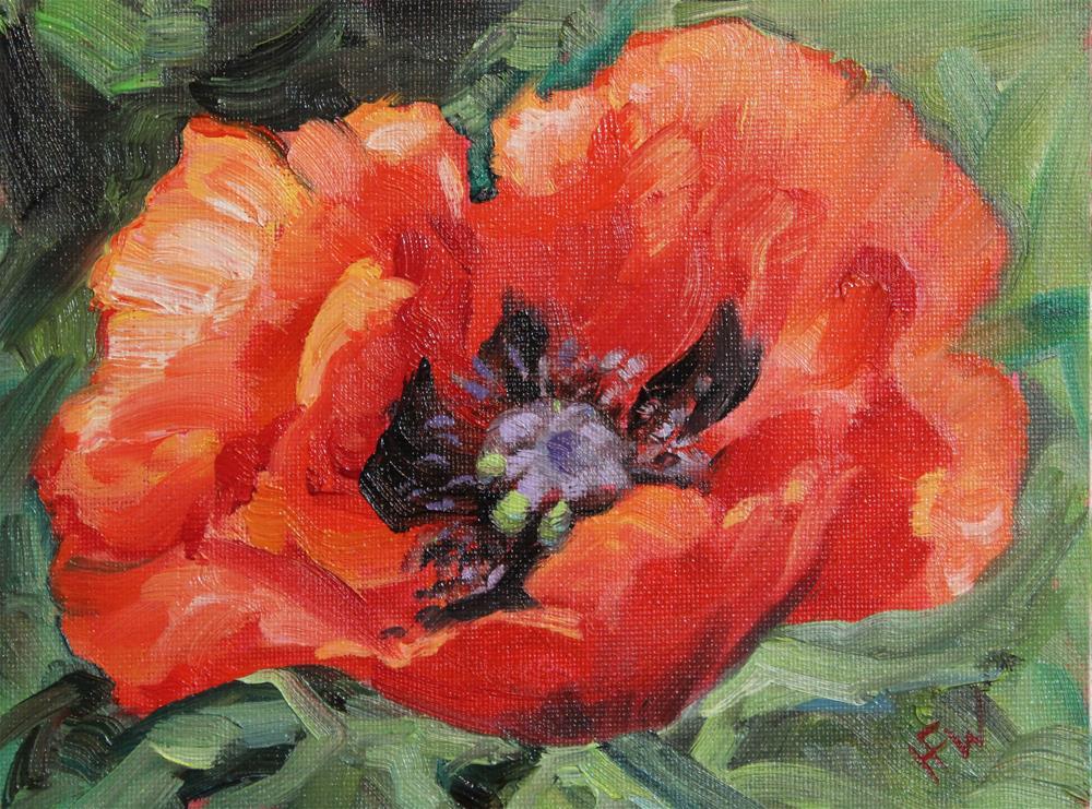 """Red Poppy 2"" original fine art by H.F. Wallen"