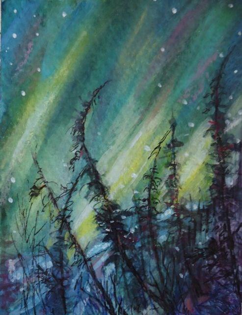 """Northern Lights Study 1"" original fine art by Jackie Irvine"