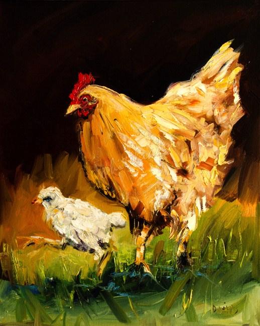 """ARTOUTWEST DIANE WHITEHEAD Animal art oil painting Hen and Chick"" original fine art by Diane Whitehead"