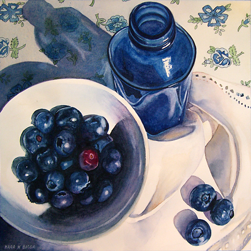"""Blueberries IV"" original fine art by Kara K. Bigda"