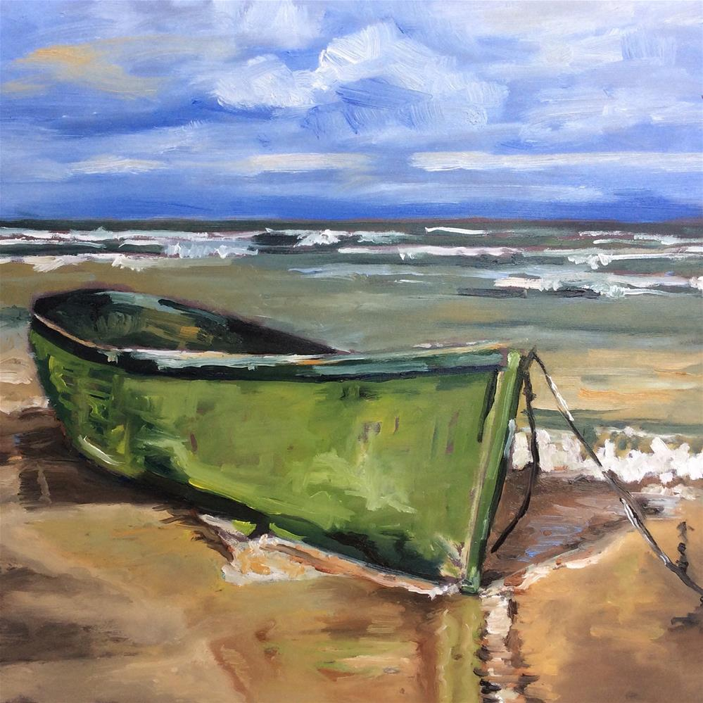 """Green boat"" original fine art by Sonja Neumann"