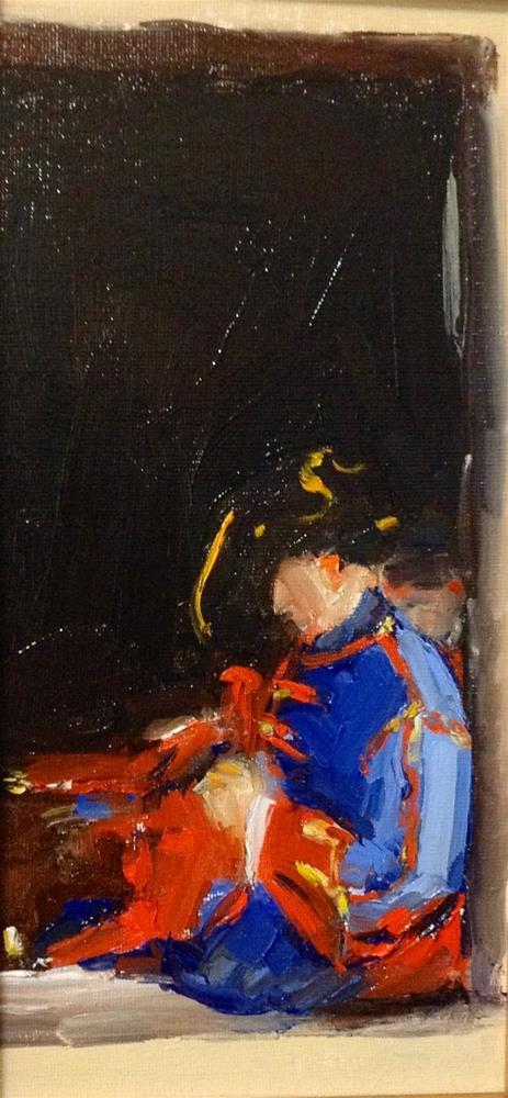 """The Tailor at Ticonderoga  6x10'oil"" original fine art by Deborah R Hill"