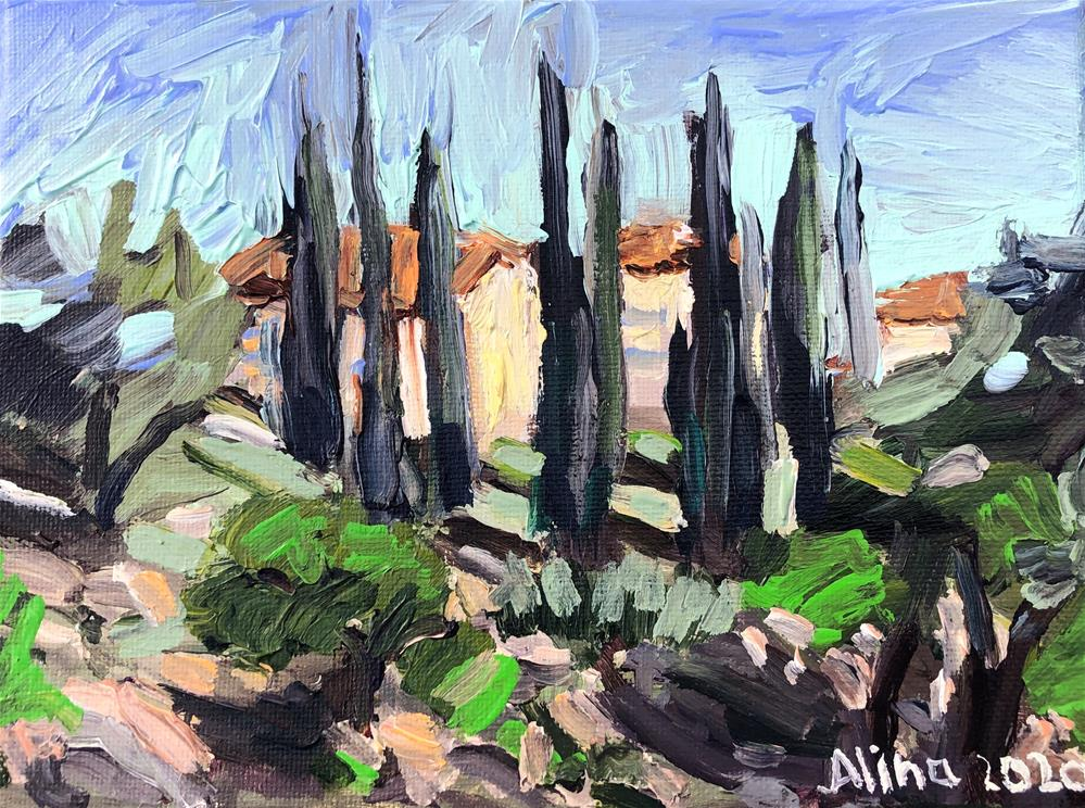 """Cypress Trees"" original fine art by Alina Vidulescu"