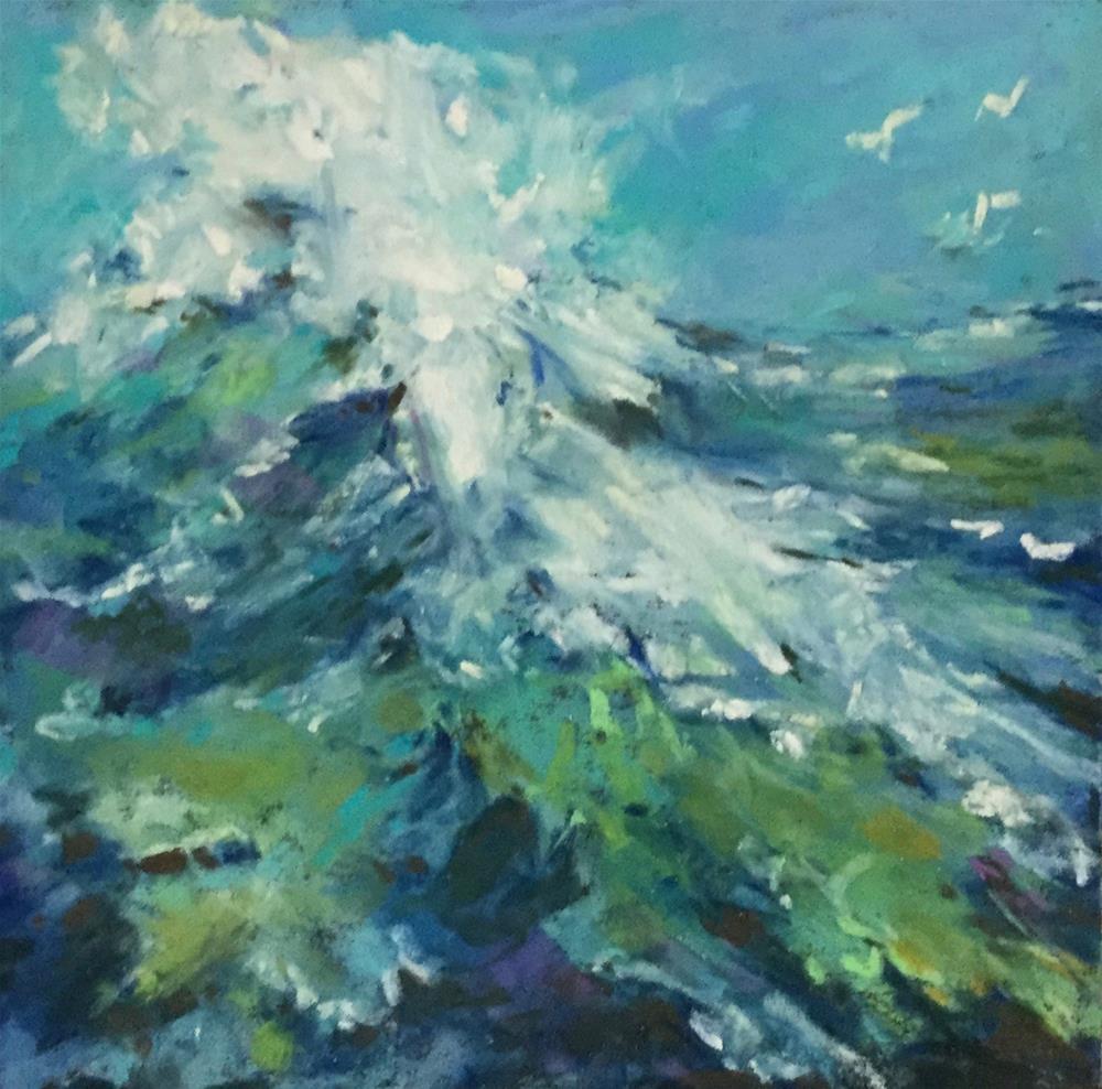 """Original soft pastel painting wave water ocean"" original fine art by Alice Harpel"