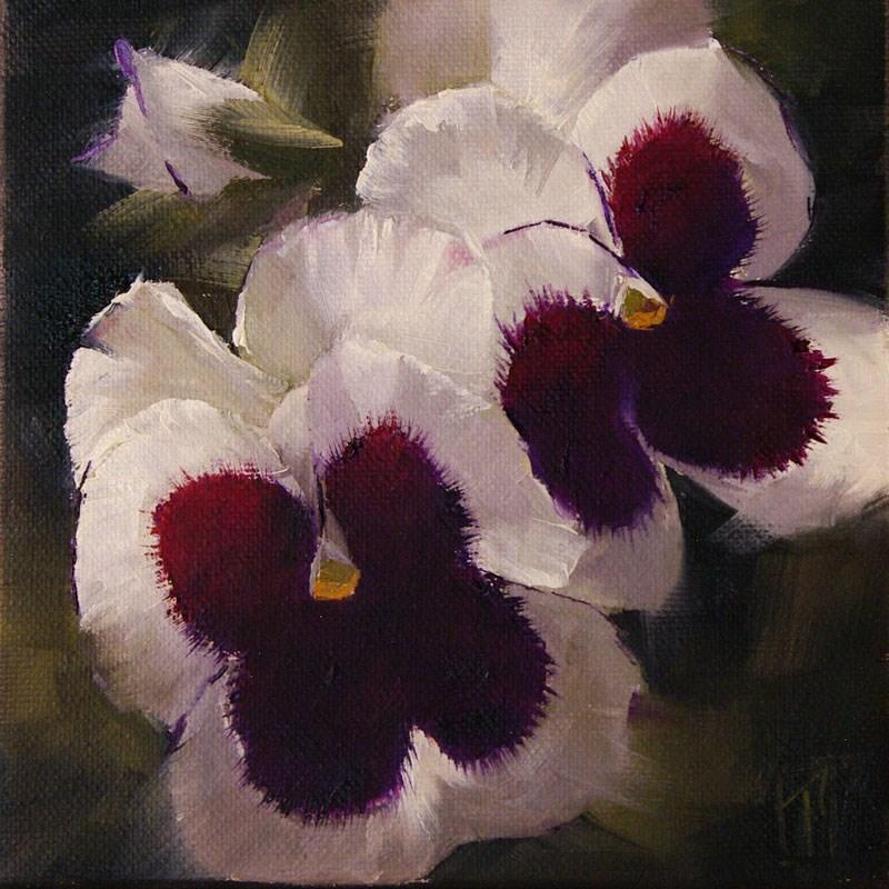 """White Pansy Study 2"" original fine art by Lori Twiggs"