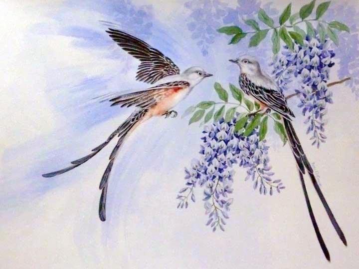 """""""Scissortail Flycatchers"""" original fine art by Jean Pierre DeBernay"""