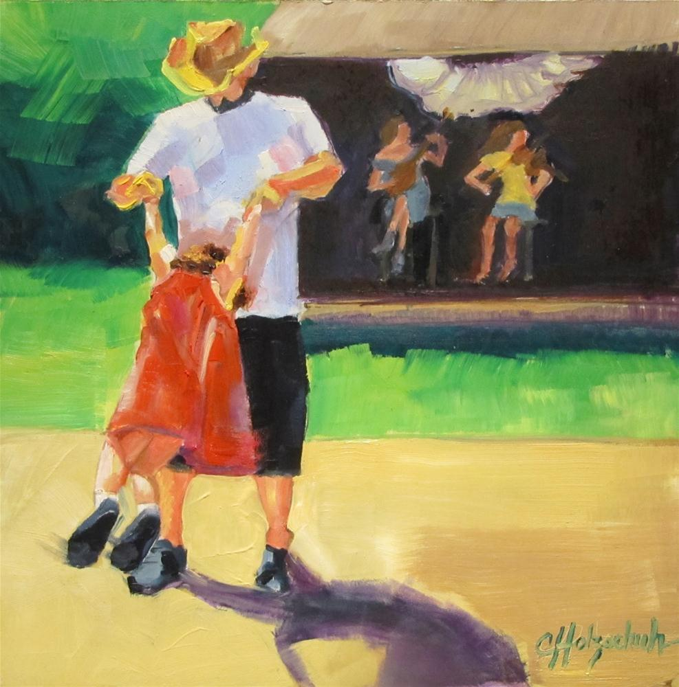 """""""Dance Me, Daddy   oil on panel 7x7"""" original fine art by Christine Holzschuh"""